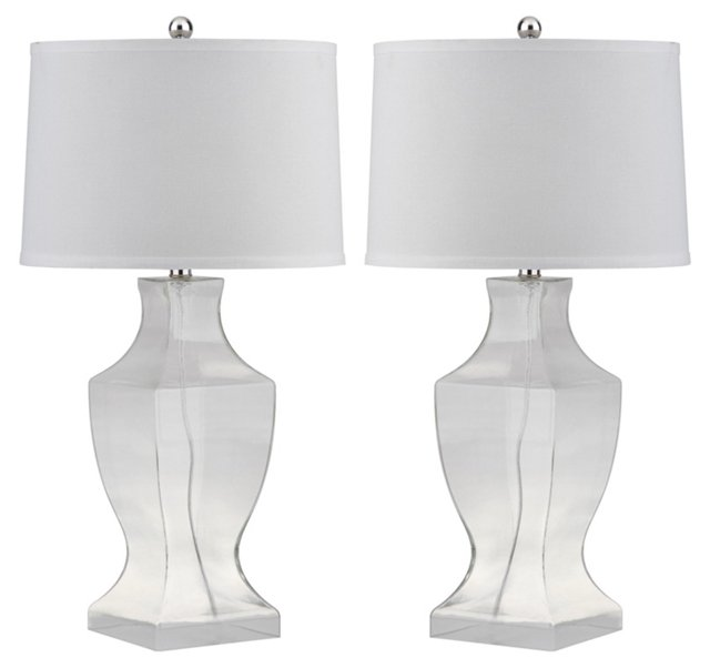 Menlow Table Lamp Set, Frosted White