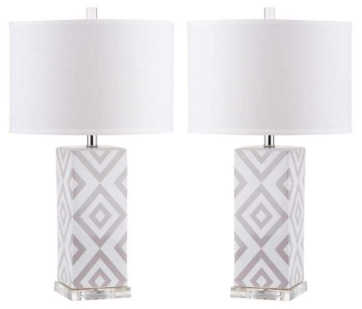 Diamonds Table Lamp Set, Gray