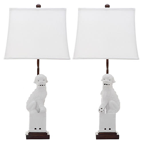 S/2 Foo Dog Table Lamp, White