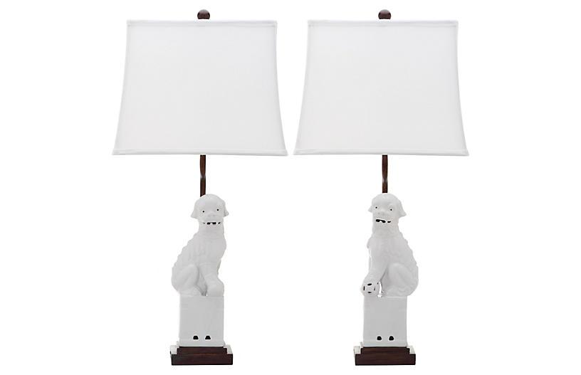 S/2 Foo Dog Table Lamp, White