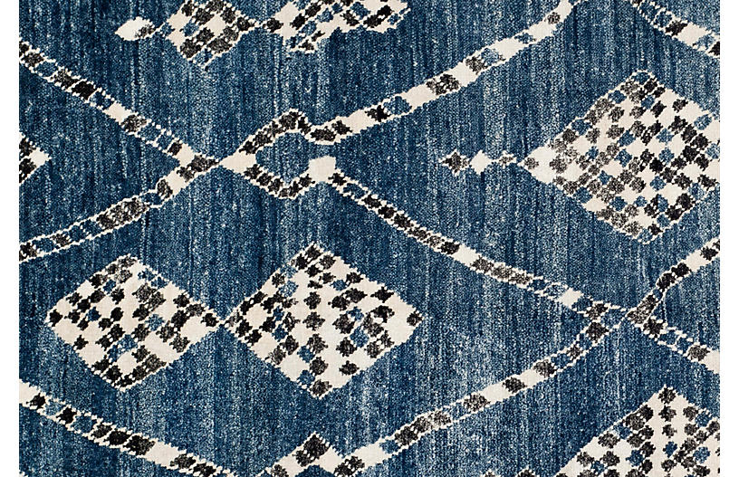 Maury Hand Knotted Rug Blue Black Moroccan Rugs By