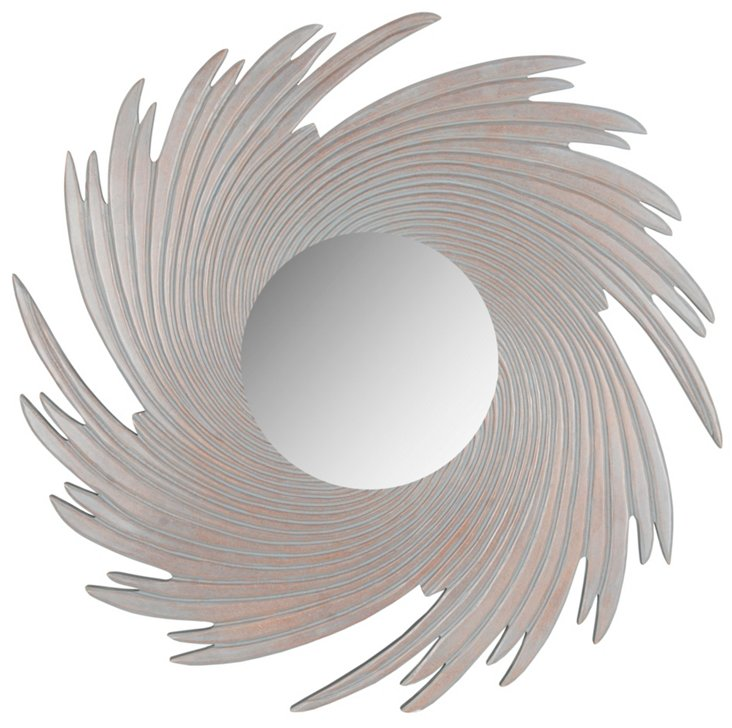 Spiral Wave Wall Mirror, Gray
