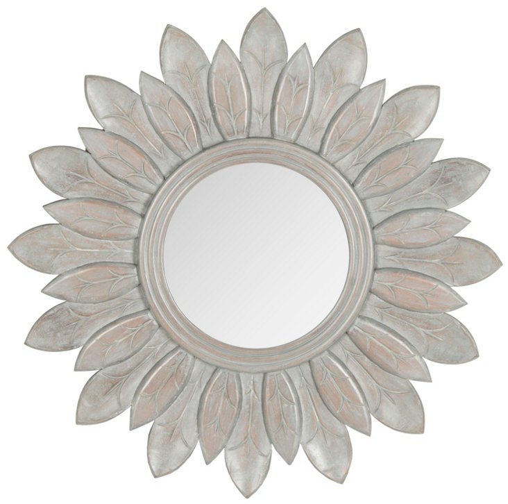 Lotus Sunburst Wall Mirror, Gray