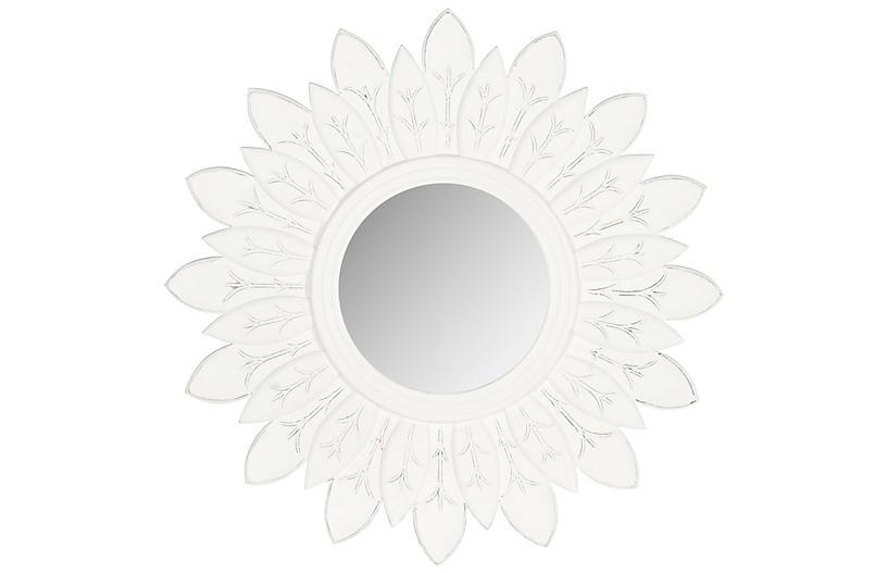 Lotus Sunburst Wall Mirror, White
