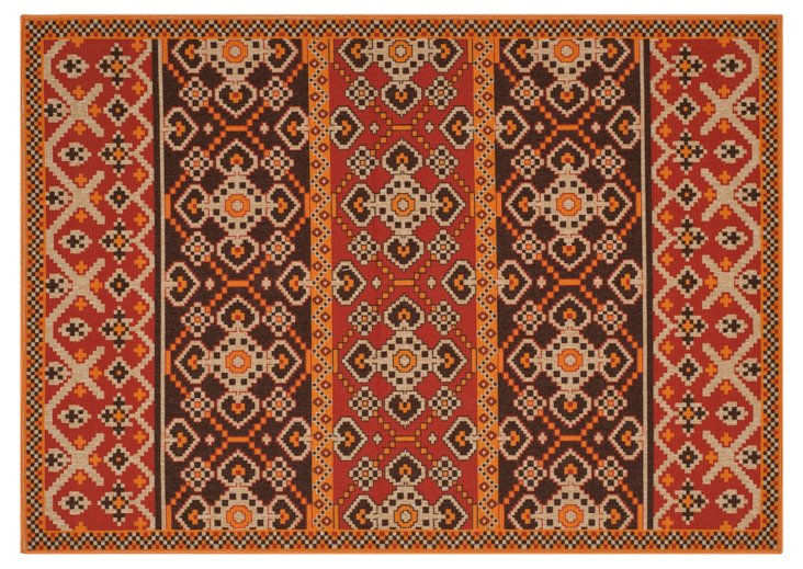 Maynard Outdoor Rug, Red/Chocolate
