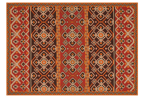 Maynard Outdoor Rug, Red/Chocola