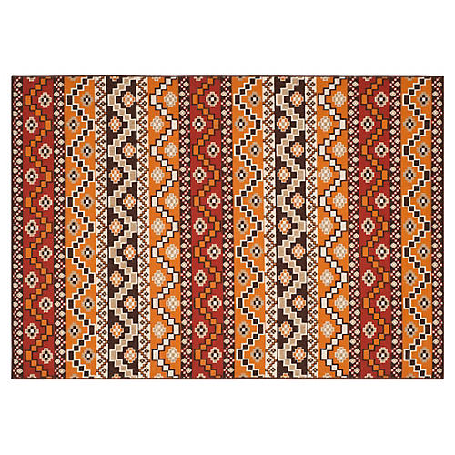 Shaka Outdoor Rug, Red/Brown
