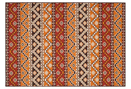 Shaka Outdoor Rug, Red/Chocolate