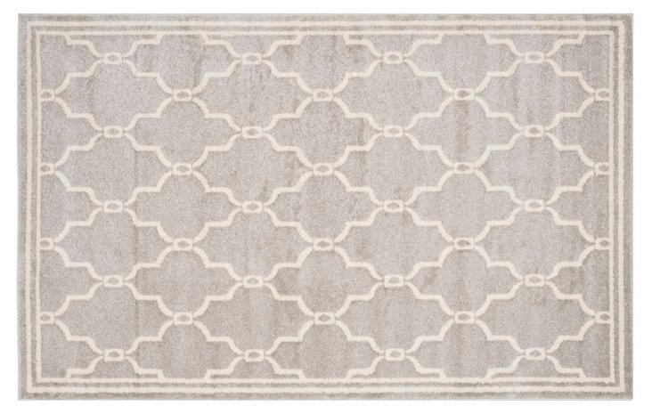 Seven Outdoor Rug, Gray/Ivory