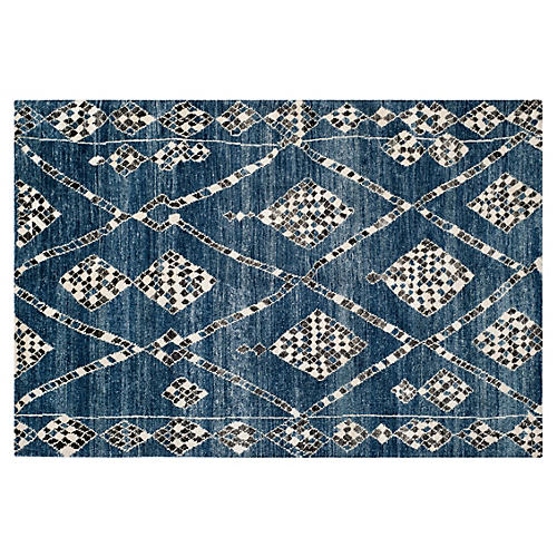 Maury Hand-Knotted Rug, Blue/Black