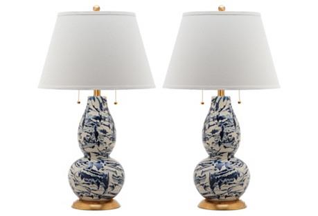 Genevieve Swirl Table Lamp Set, Navy