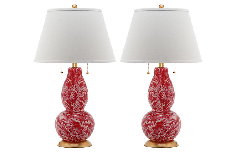 S/2 Libby Table Lamps, Red