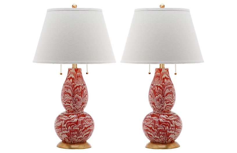 S/2 Libby Table Lamps, Orange