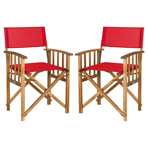 Red Lee Director Chairs, Pair