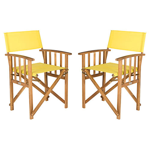 Yellow Lee Director Chairs, Pair