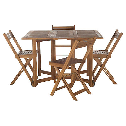 Outdoor Arvin Table w/ Chairs, Teak