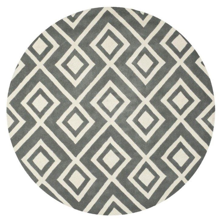 7' Round Dana Rug, Dark Gray/Ivory