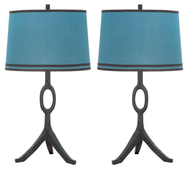 Packwood Table Lamp Set, Blue Linen