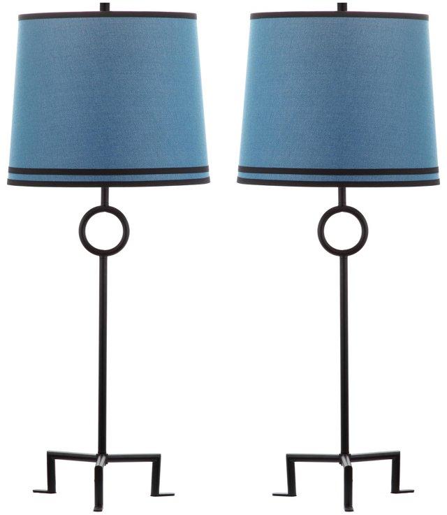 Shotwell Table Lamp Set, Blue Linen