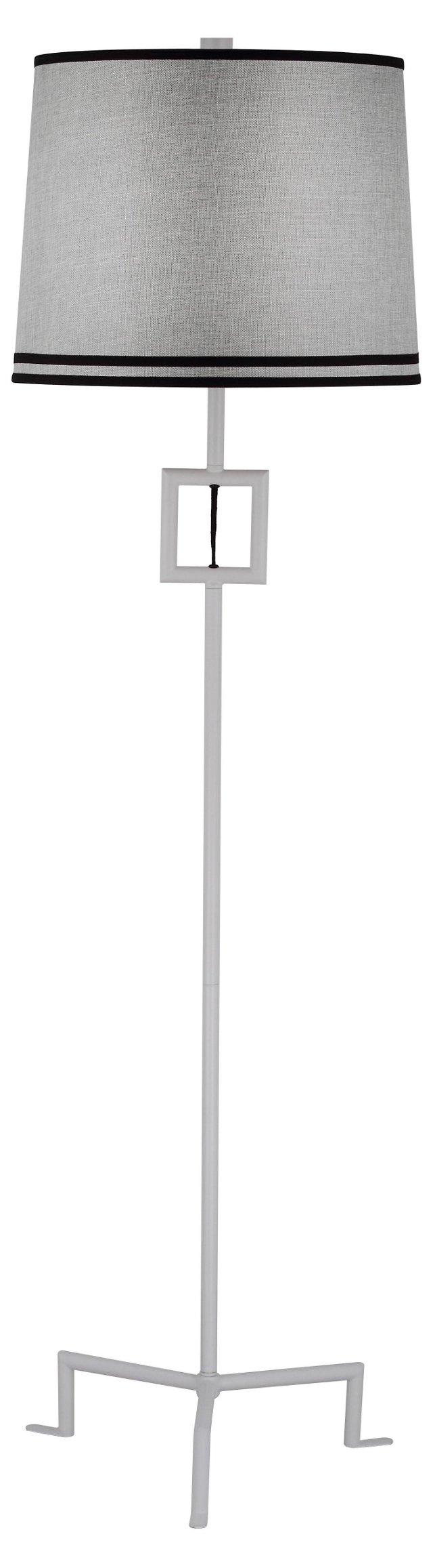 Hanover Floor Lamp, Gray Linen