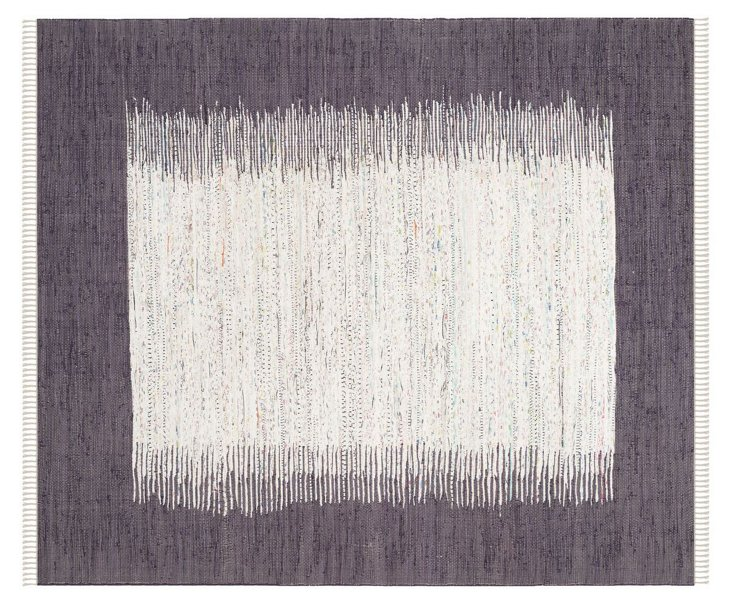 Cay Flat-Weave Rug, Ivory/Purple