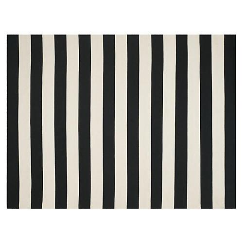 Ada Flat-Weave Rug, Black/Ivory