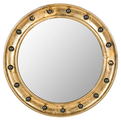 "Jeffrey 27"" Porthole Wall Mirror, Gold"