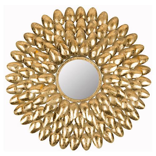 "Canton 28"" Sunburst Wall Mirror, Gold"