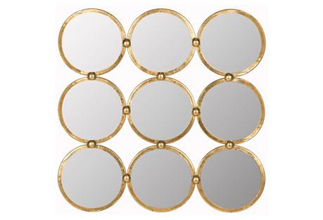 Multi Circle Mirror, Gold