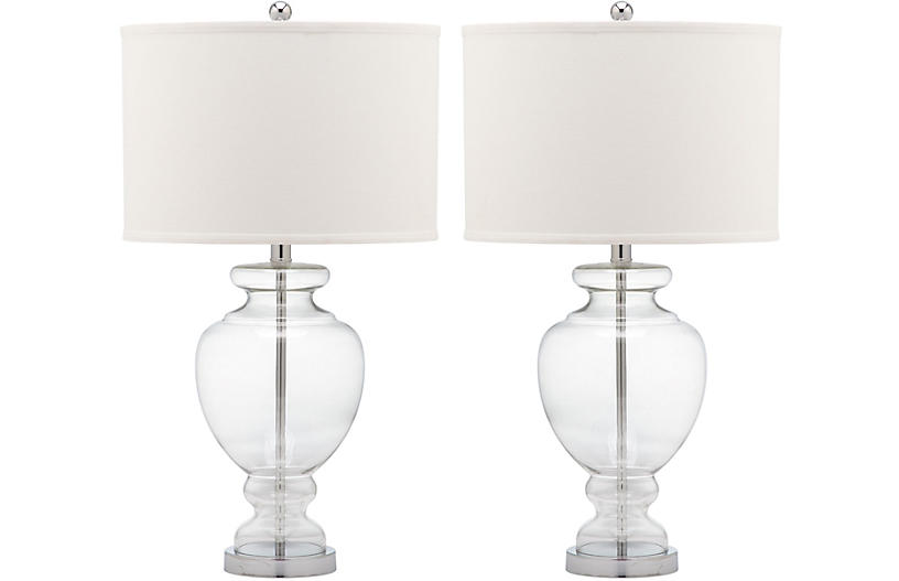 S/2 Landon Table Lamp Set, Clear