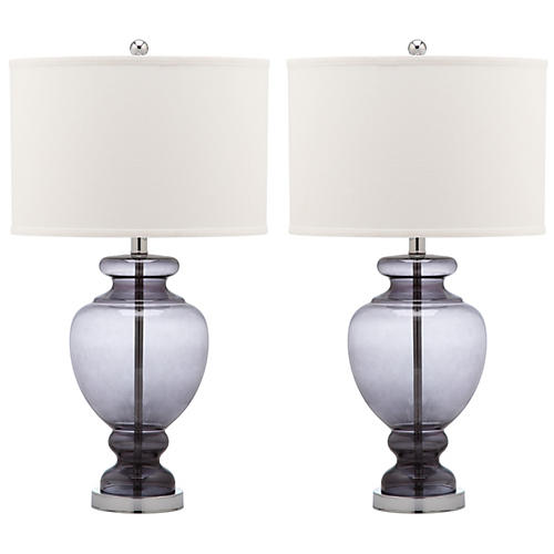 S/2 Landon Table Lamp Set, Gray