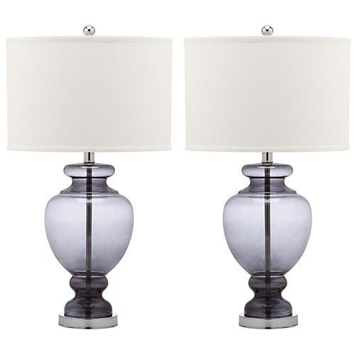 S/2 Landon Table Lamp Set, Gray