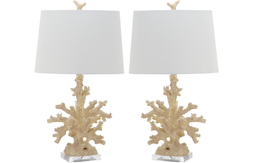S/2 Coral Branch Table Lamps, Natural