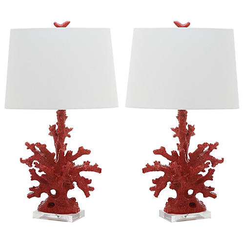 S/2 Coral Branch Table Lamps, Vivid Red