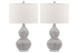Nicole Beaded Lamp Set, Silver*