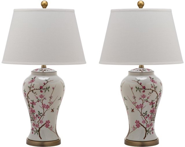 Spring Blossom Table Lamp Set, Pink