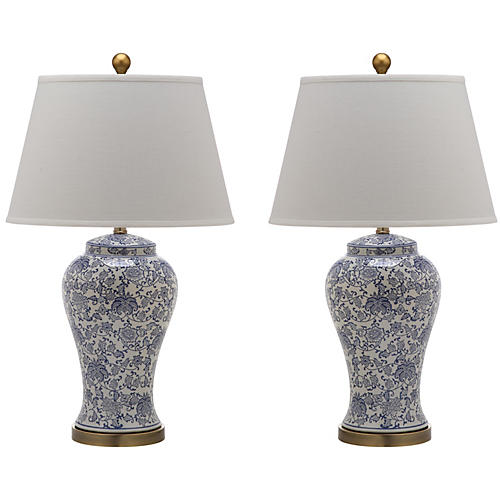 S/2 Spring Blossom Table Lamp, Blue