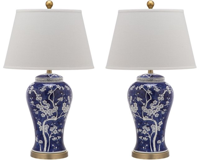 Spring Blossom Table Lamp Set, Navy