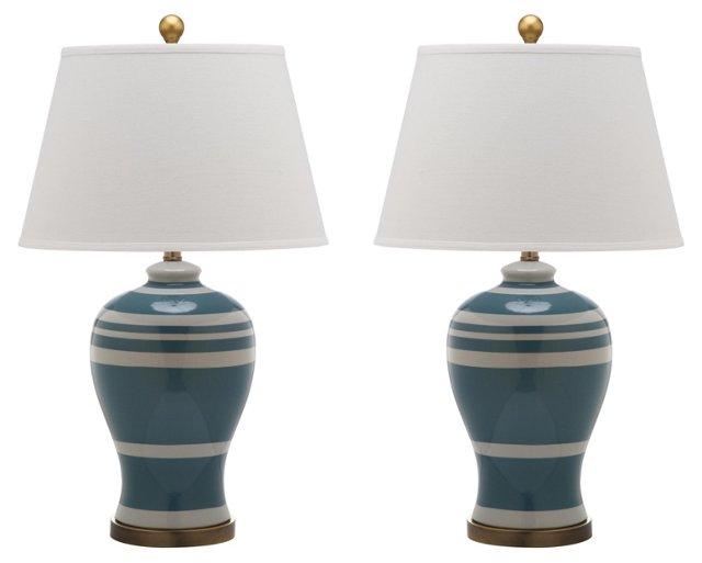 Beckford Ginger Jar Lamp Set, Blue