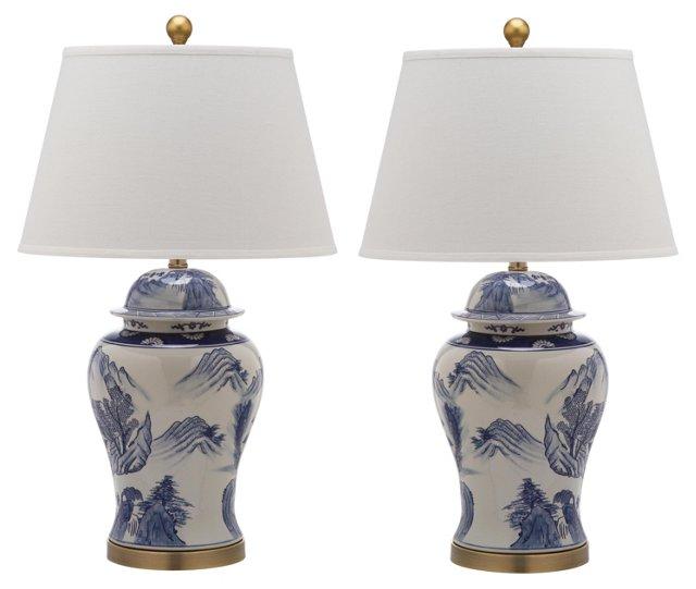 Shanghai Table Lamp Set, Blue/White