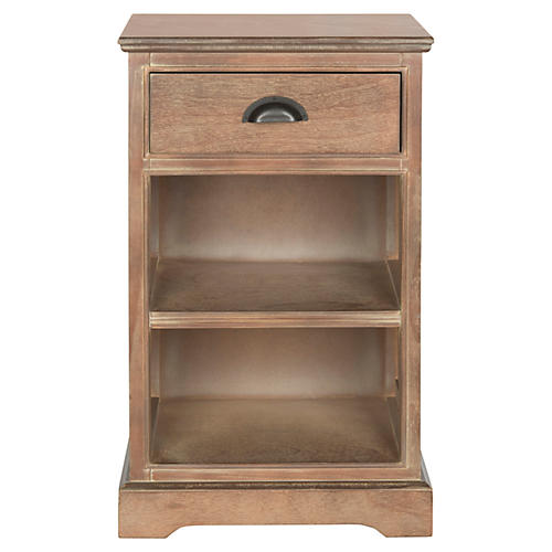 Gail Nightstand w/ Shelves, Natural