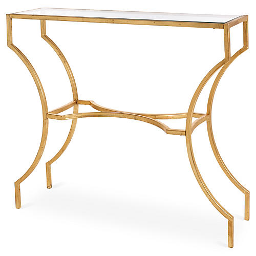 "Amber 40"" Console Table, Gold"