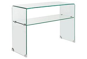 """Ella 43"""" 2-Shelf Glass Console, Clear"""