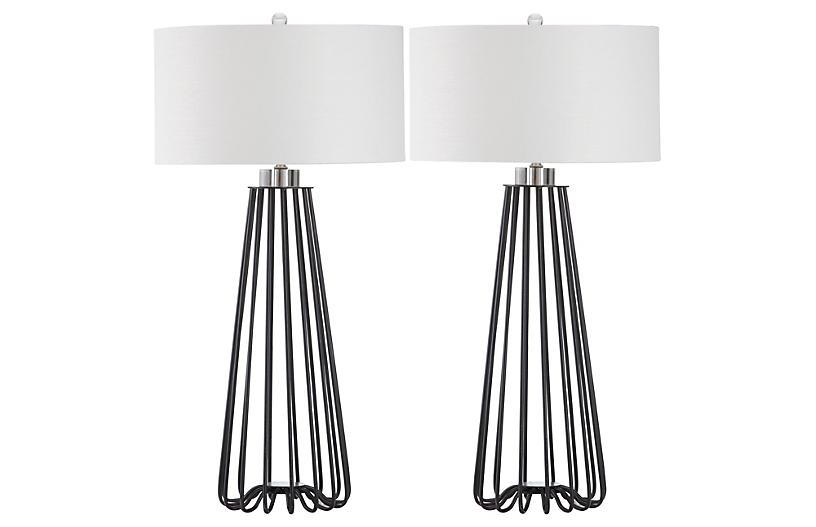 S/2 Estee Table Lamp, Black