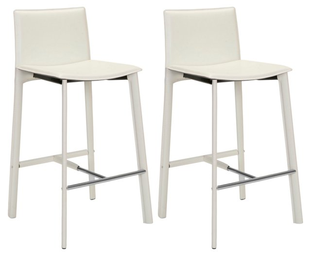 White Collins Leather Barstools, Pair