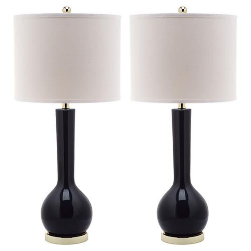 S/2 Ava Table Lamps, Navy Blue