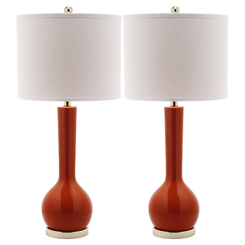S/2 Ava Table Lamps, Orange