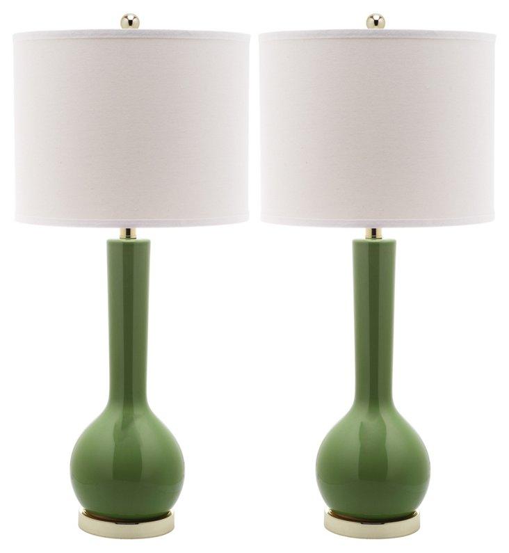 Ava Table Lamp Set, Green