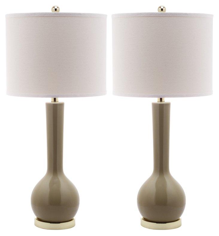 Ava Table Lamp Set, Beige