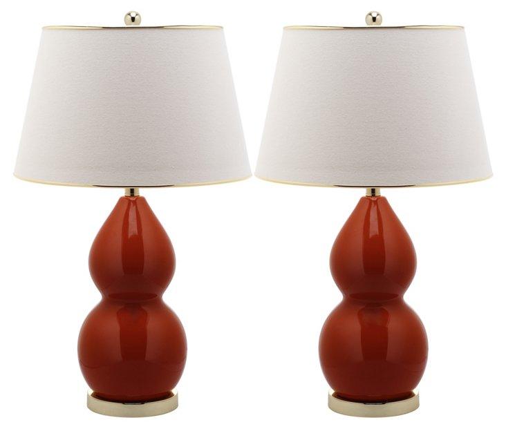 Jill Double Gourd Lamp Set, Orange